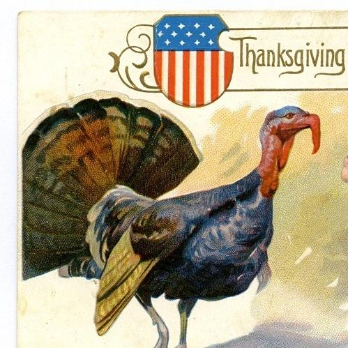 Good Wishes: Detail of a vintage Thanksgiving greeting card.