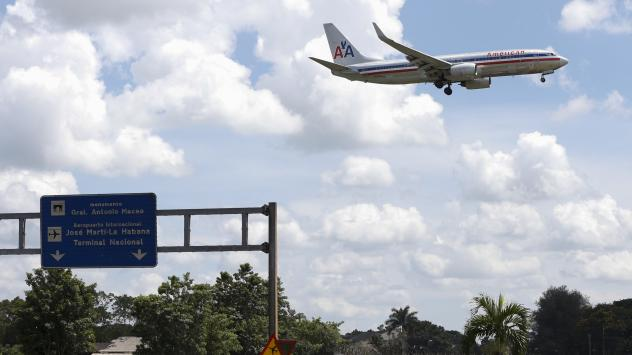 An American Airlines airplane prepares to land at the Jose Marti International Airport in Havana on Sept. 19. Currently charter flights (including American Airlines charters) are the only way to fly between the two countries, but commercial flights are s