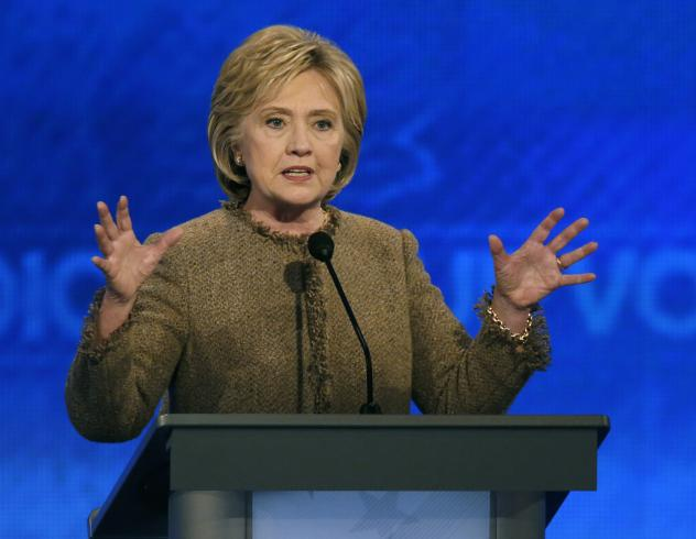 Hillary Clinton speaks during a Democratic presidential primary debate on Saturday in Manchester, N.H.
