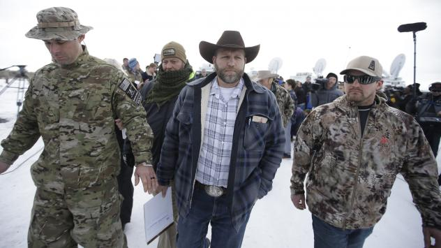 Ammon Bundy [center] is one of the occupiers at the Malheur National Wildlife Refuge headquarters near Burns, Ore.