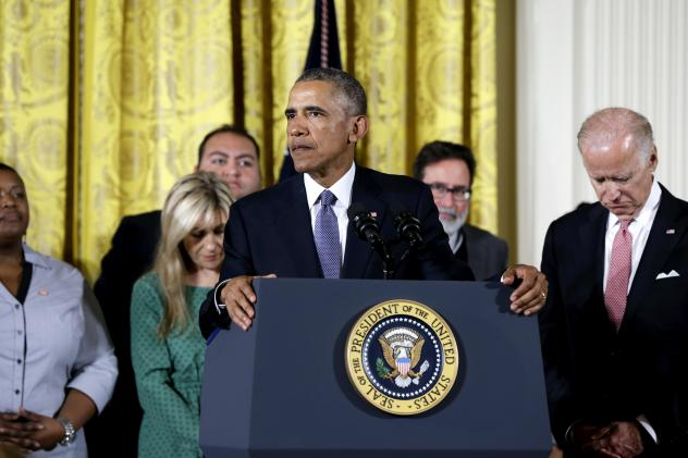 """""""We maybe can't save everybody, but we can save some,"""" President Obama said at the White House Tuesday, discussing his plans to reduce gun violence with tighter background checks and other measures. He was joined onstage by Vice President Biden and peopl"""