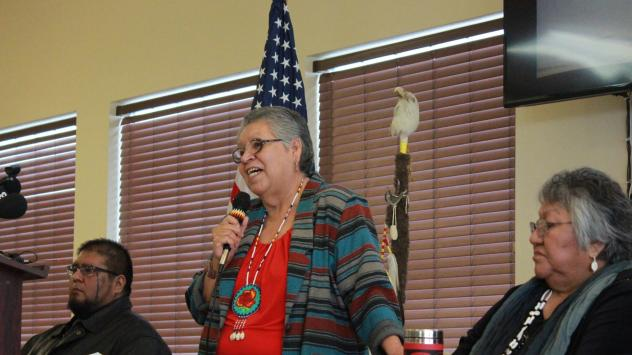 Burns Paiute Tribal Chairperson Charlotte Rodrique talks to reporters about the armed occupation of the Malheur National Wildlife Refuge near Burns, Ore., on Wednesday.