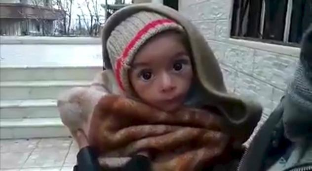 Demonstrators in Idlib, Syria, protested Tuesday on behalf of civilians starving in the besieged town of Madaya, Syria.