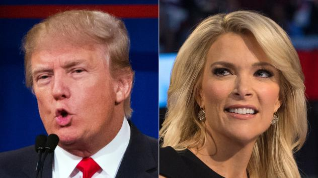 Republican presidential candidate Donald Trump and Fox News Channel host and moderator Megyn Kelly during the first Republican presidential debate — the origin of their feud.