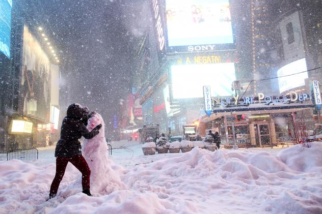 New York City called a travel ban on vehicles in Times Square and elsewhere during last weekend's storm, which broke snowfall records all along the Mid-Atlantic coast.