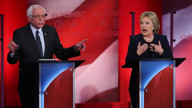 Hillary Clinton and Bernie Sanders at the final debate for Democratic before the New Hampshire primaries at the University of New Hampshire in Durham, New Hampshire on Thursday.