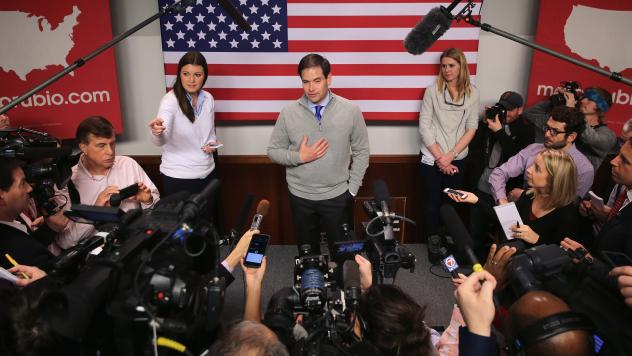 Marco Rubio after a campaign town hall event in Manchester, N.H., earlier this week.