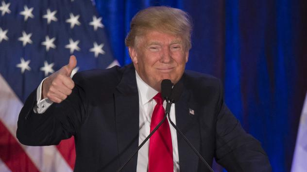 Donald Trump flashes a thumbs up after finishing second in the Iowa caucuses last week.
