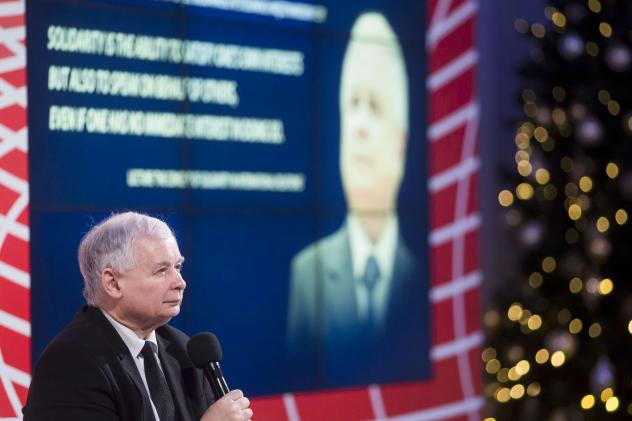 Jaroslaw Kaczynski sits before a large image of his twin brother, Lech Kaczynski, who was the president of Poland from 2005 until his death in a plane crash in 2010. Today Jaroslaw Kaczynski, a former prime minister of Poland, doesn't hold political offi