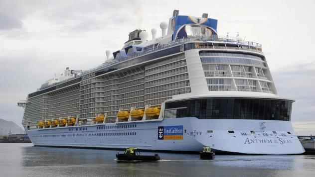 The Royal Caribbean cruise liner Anthem of the Seas, the third-largest cruise ship in the world, is seen here during its inaugural voyage last April.