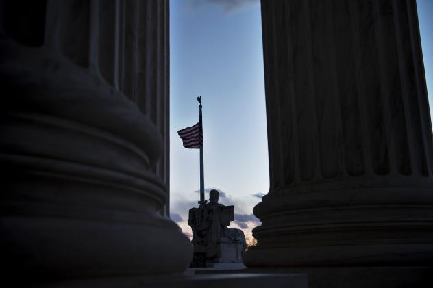 The U.S. Supreme Court is seen on Saturday in Washington, DC, following the announcement of the death of Supreme Court Justice Antonin Scalia.