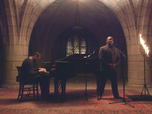 Lawrence Brownlee performs with pianist Jason Moran in the active crypt below the historic Church of the Intercession in Harlem.