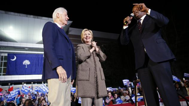 """Democratic presidential candidate Hillary Clinton and her husband, former President Bill Clinton, speak at a """"Get Out The Vote Rally"""" in Columbia, S.C., on Friday."""