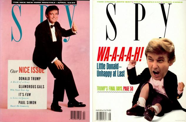 Two <em>Spy</em> covers feature Donald Trump, who was frequently criticized in the magazine by co-creators Kurt Andersen and Graydon Carter.