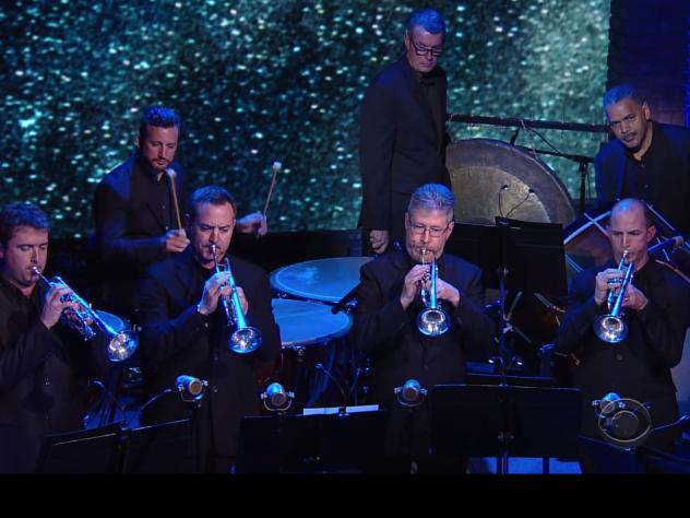 Members of the Los Angeles Philharmonic played Copland's <em>Fanfare for the Common Man</em> last night on Stephen Colbert's <em>The Late Show</em>.