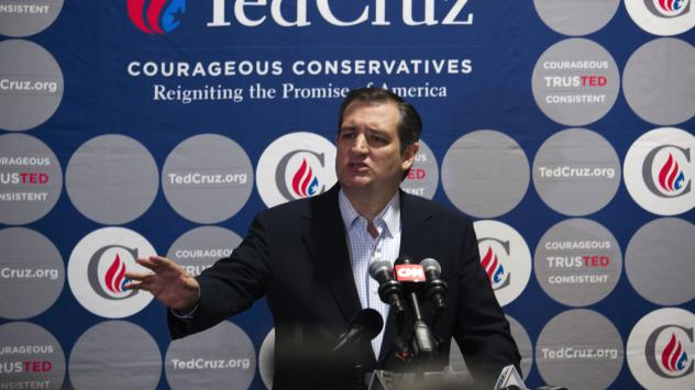 Republican presidential candidate Ted Cruz speaks to the media Friday after a town hall meeting in Oshkosh, Wis.