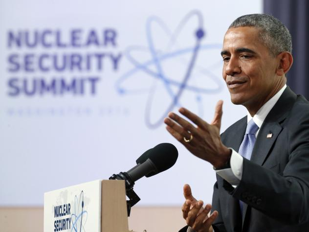 President Obama speaks during a news conference at the Nuclear Security Summit on Friday in Washington.