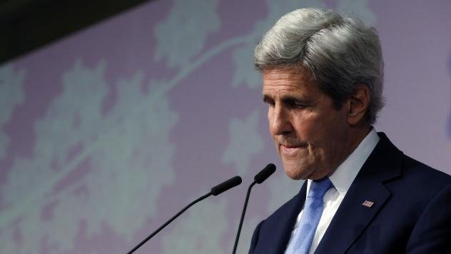 Secretary of State John Kerry pauses during his remarks about seeing the Hiroshima Peace Memorial Park and Museum, the site of the 1945 atomic bombing, during a news conference at the conclusion of the G-7 Foreign Ministers' Meetings in Hiroshima on Mond