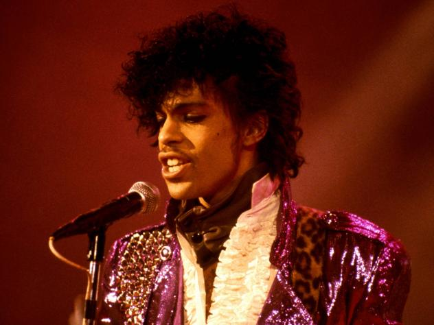 "Prince performs at the Ritz Club during his ""Purple Rain"" tour on September 13, 1985."