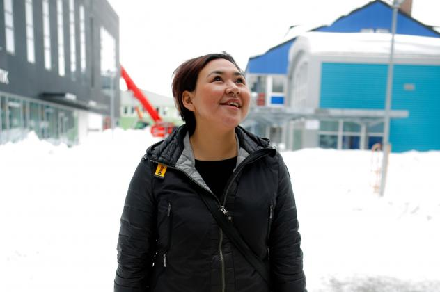 """Greenland native Nina-Vivi Andersen visits the old town of Kangeq, off the coast of Greenland's capital Nuuk. She has her own perspective on the word Eskimo: """"I don't mind to be called Eskimo — it is neutral for me. But when I saw an ice cream store in"""