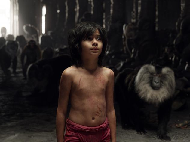 "Mowgli has a moment with Raksha, the ""mother wolf"" who adopted him."