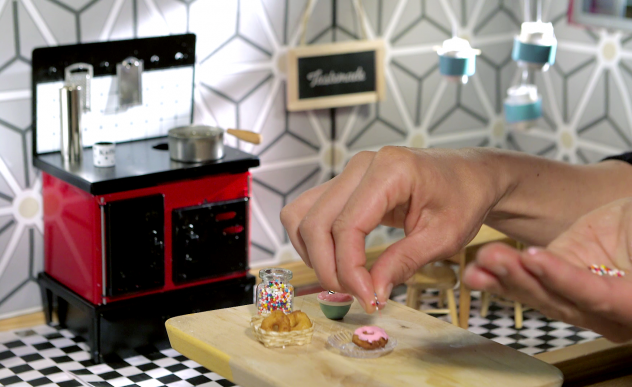 Even the dollhouse where <em>Tiny Kitchen</em> is filmed sits in the midst of a gigantic soundstage.
