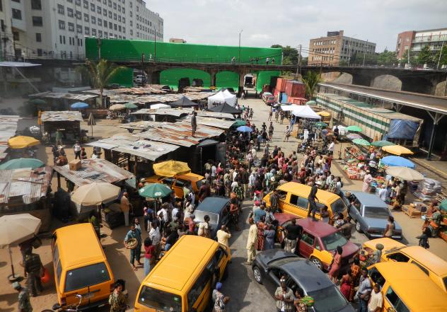 """Some Nigerians were hoping that this scene from """"Captain America"""" was filmed in Lagos — but actually it was a set in Atlanta, Georgia."""