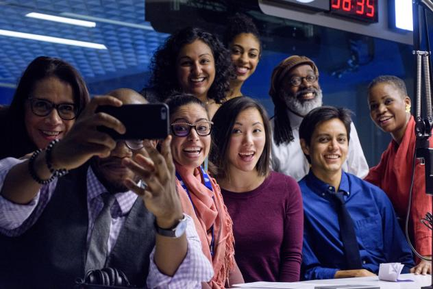 Standing (from left): Reporter Karen Grigsby Bates, editor Tasneem Raja, news assistant Leah Donnella, producer Walter Ray Watson, editor Alicia Montgomery. Seated (from left): Reporters and hosts Gene Demby and Shereen Marisol Meraji, reporters Kat Chow