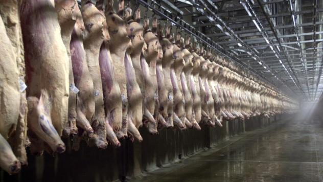 Beef sides hang in a chilling room at a slaughterhouse in Nebraska.