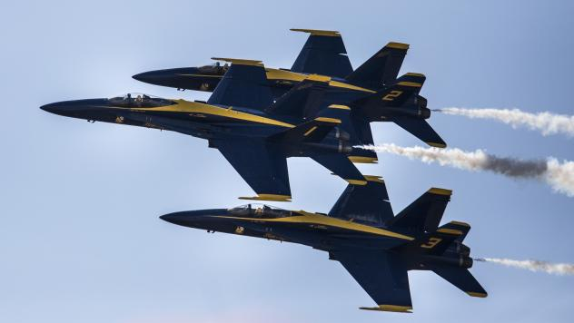 A Navy pilot who flew with the Blue Angels — some of the group's planes are seen here last September — was killed in a crash southwest of Nashville Thursday afternoon.