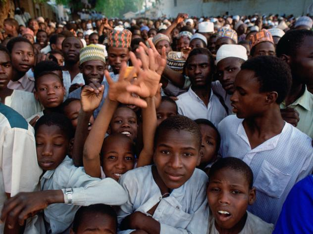What's the median age in Africa? To find out, take our quiz. Above: Crowds wait for a festival in Maiduguri. Bonus question: Where is Maiduguri? Answer: It's the capital of Boron State in northeastern Nigeria.