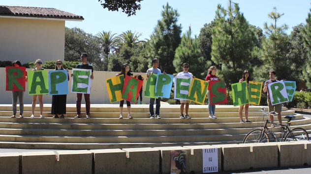 Stanford has found itself in a string of high-profile sexual assault cases. During a demonstration last September, students held a sign about rape at the university's White Plaza, during New Student Orientation.