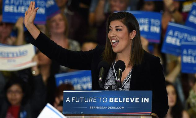 Democratic congressional candidate Lucy Flores speaks at a campaign rally for Democratic presidential candidate Sen. Bernie Sanders in February in Las Vegas.