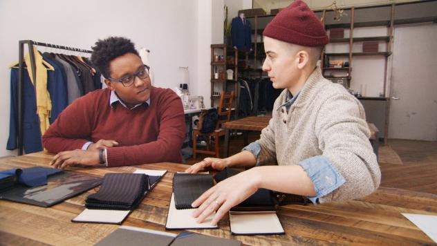 Law student Everett consults with Rae Tutera on his suit for job interviews in HBO's new documentary, <em>Suited</em>.