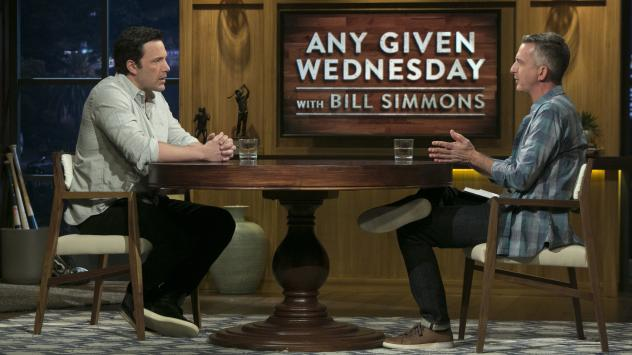 Ben Affleck and Bill Simmons on the premiere of HBO's <em>Any Given Wednesday</em>.
