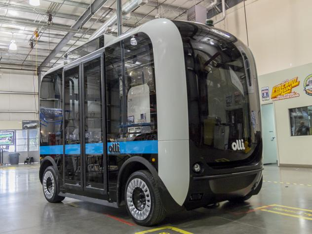 A dozen people can fit inside the Olli minibus. Cognitive technology from IBM's Watson will talk with and learn about passengers, hoping to predict their needs or reactions.