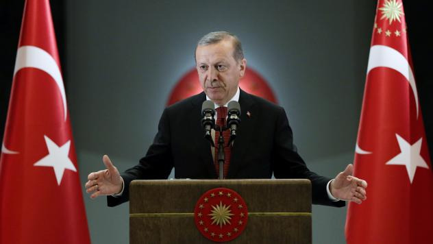 Turkey's President Recep Tayyip Erdogan speaks on Monday at the presidential palace in Ankara. Turkey is now embroiled in conflicts with Syria's President Bashar Assad, the Islamic State and the Kurdish separatists.