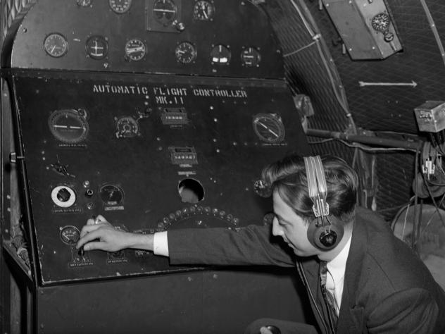 This 1947 photo shows an early airplane autopilot system.