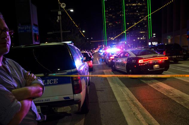 Police cars on Main Street in Dallas following the sniper shooting during a protest on Thursday.