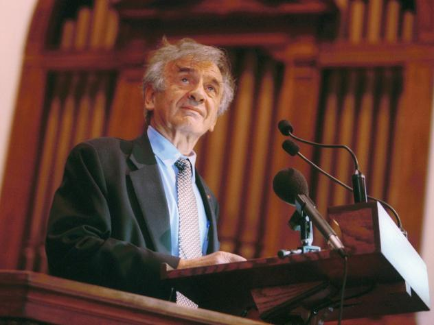 Elie Wiesel speaks at Vermont's Middlebury College in 2002. The Holocaust survivor, Nobel laureate and author died July 2 at the age of 87.