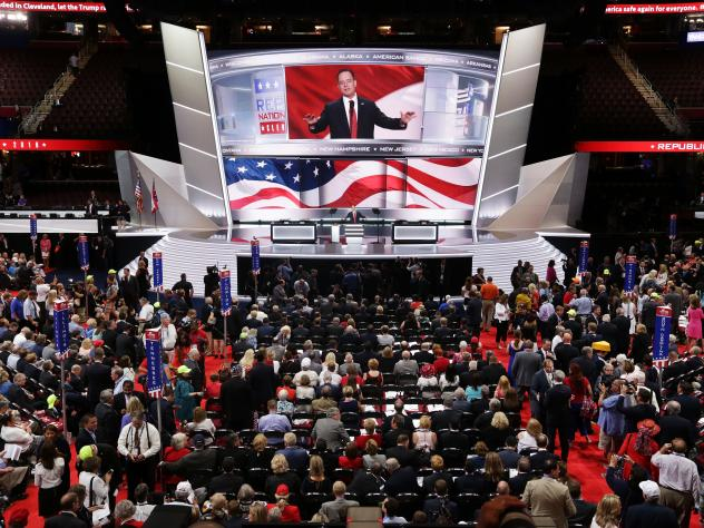 Reince Priebus, chairman of the Republican National Committee, speaks to the delegates on start of the first day of the Republican National Convention. An estimated 50,000 people are expected in Cleveland, including hundreds of protesters and members of