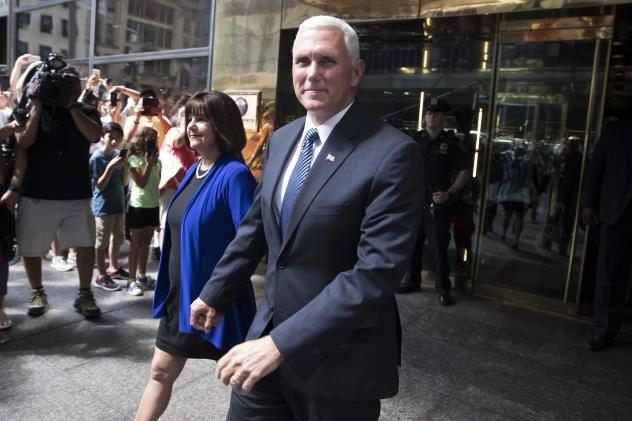 Pence leaves a press conference at the Indiana State Library in Indianapolis in 2015, where he spoke about the state's controversial Religious Freedom Restoration Act.