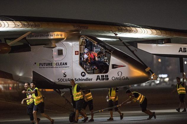 The Solar-powered Solar Impulse 2 aircraft prepares to take off from the Cairo International Airport in the Egyptian capital on Sunday as it heads to Abu Dhabi on the final leg of its world tour.