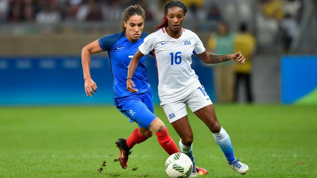 U.S. women's soccer player Crystal Dunn (in white) contends with Amel Majri of France during their match at Mineirao Stadium in Belo Horizonte, Brazil. The U.S. earned a 1-0 victory in the the Group G first-round meeting in the Rio Summer Olympics tourna