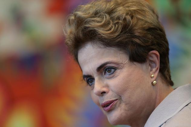 Suspended Brazilian President Dilma Rousseff speaks during a press conference in Brasilia, Brazil, in January.