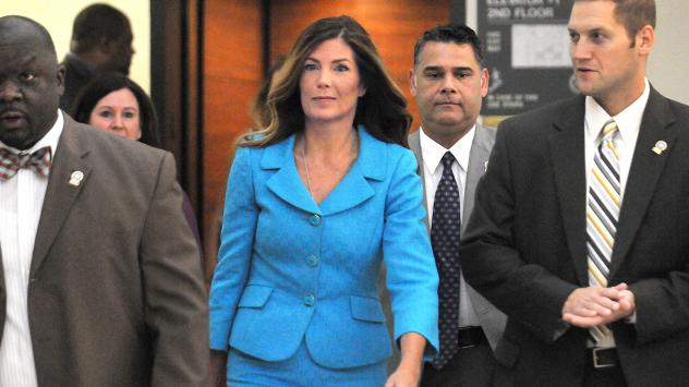 Pennsylvania Attorney General Kathleen Kane enters the courtroom on August 11. A jury has convicted her of leaking grand jury information and lying about it under oath.