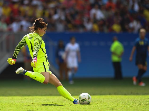 U.S. goalkeeper Hope Solo prepares to kick the ball during the Olympic quarterfinals Aug. 12 against Sweden in Brasilia, Brazil. After the Americans lost the match on penalty kicks, Solo described the Swedes as cowards. On Wednesday, U.S. soccer suspende
