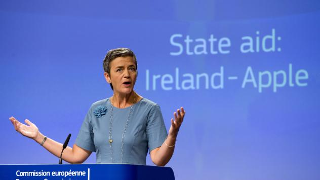 European Union Competition Commissioner Margrethe Vestager speaks during a media conference at EU headquarters in Brussels on Tuesday. The European Union says Ireland has given illegal tax benefits to Apple Inc. and must now recover the unpaid back taxes