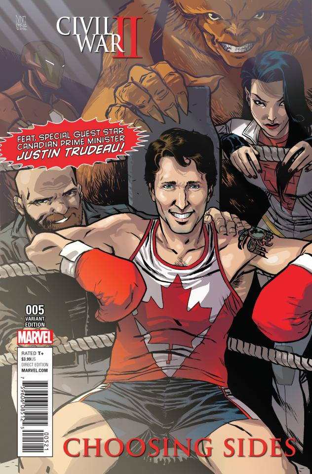 The superhero squad seeks advice and guidance from Canadian Prime Minister Justin Trudeau.