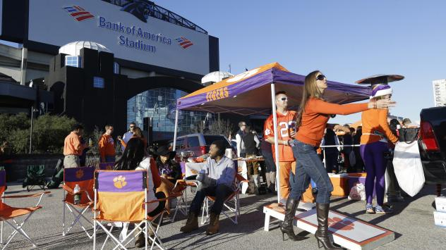 The ACC is choosing new locations for neutral-site championships because of North Carolina's controversial law known as HB2. Here, Clemson fans tailgate outside Bank of America Stadium in Charlotte, prior to last December's NCAA Atlantic Coast Conference